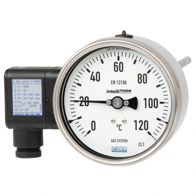 Termómetro de dilatación de gas con contacto eléctrico