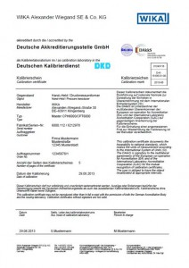 certificado de calibración WIKA