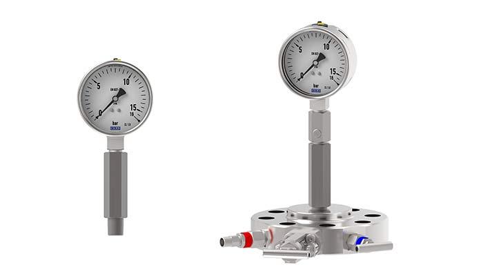 Manómetro con sifon y monobrida