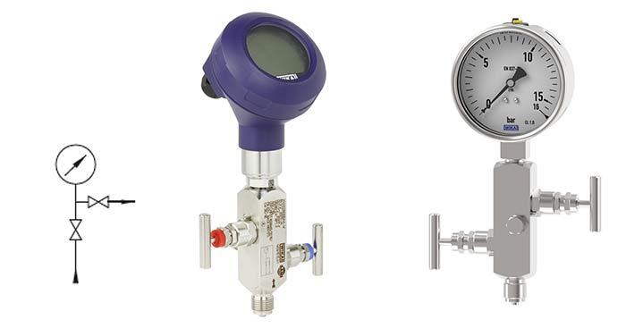 Transmisor de presión y manómetro sobre valvula